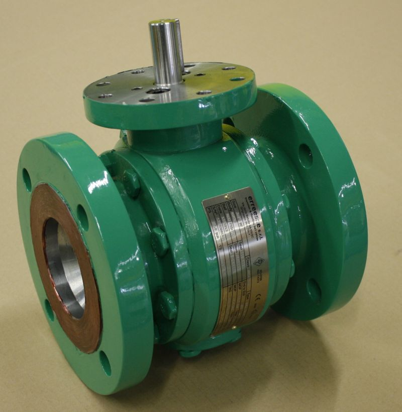 Trunnion side entry split body ball valve for utility service