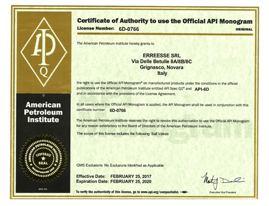 Certificate of Authority to use the Official API Monogram - Erreesse
