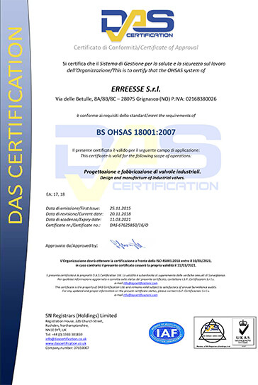 OHSAS 18001 Occupational Health and Safety Management Systems Erreesse